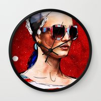 sunglasses Wall Clocks featuring Sunglasses by Ed Pires