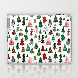 Christmas tree forest minimal scandi patterned holiday forest winter Laptop & iPad Skin