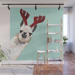 Llama Reindeer in Green Wall Mural