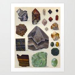 The Mineral Kingdom by Dr. Reinhard Brauns, 1903. Germany. Beautiful Gems Mineral Jewels Art Print