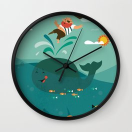 Whales and Pirates Wall Clock