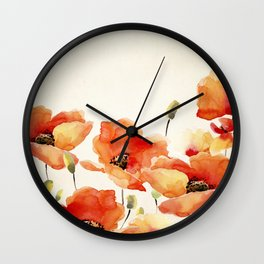 Poppy Flower Meadow- Floral Summer lllustration Wall Clock