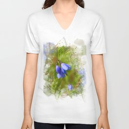 Pretty bluebells on white Unisex V-Neck