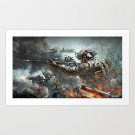 US Marines Devil-Dogs are marching on Art Print