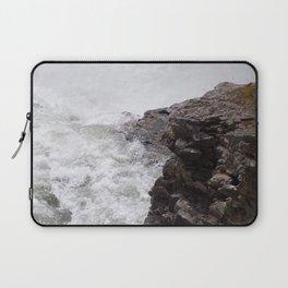 Rapids, Churning Water Through Black Rocks, Swift River Wate Laptop Sleeve