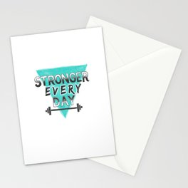 Stronger Every Day (barbell) Stationery Cards