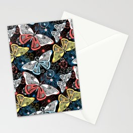 Beautiful graphic illustration of colorful butterflies Stationery Cards