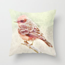 Ode To A Vermillion Flycatcher Throw Pillow