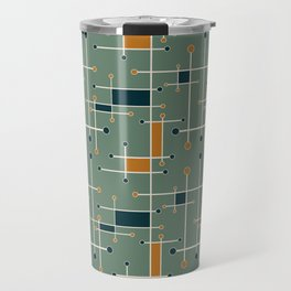 Intersecting Lines in Olive, Blue-green and Orange Travel Mug