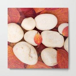 Autumn Still Life - White Stones Red Leaves #decor #society6 #buyart Metal Print