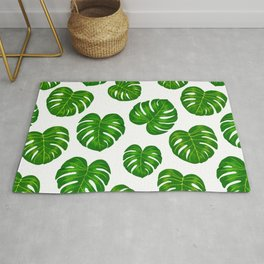 Green Tropical Monstera Deliciosa Leaves Rug