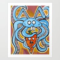 vegetarian Art Prints featuring Eat Vegetarian by Ivan Collich