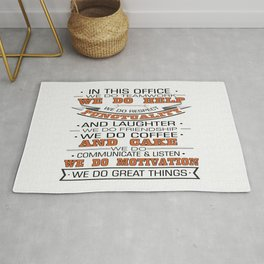 In this office we do teamwork Inspirational Typography Quote Design Rug