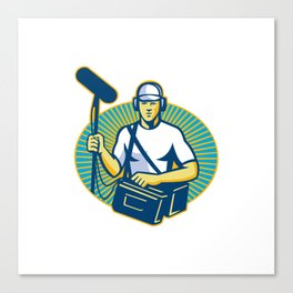 soundman worker with microphone retro Canvas Print