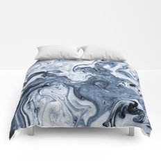 Isao - spilled ink art print marble blue indigo india ink original waves ocean watercolor painting  Comforters