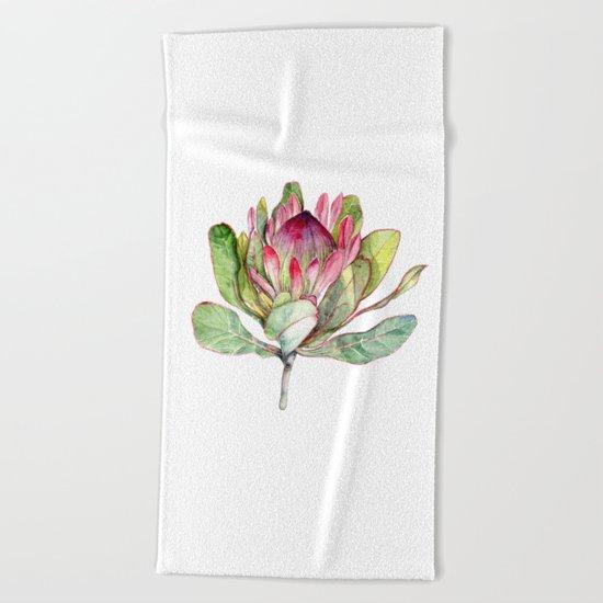 Protea Flower Beach Towel