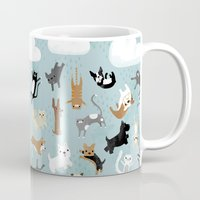 yorkie Mugs featuring Raining Cats & Dogs by Anne Was Here