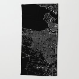 Vancouver Black Map Beach Towel