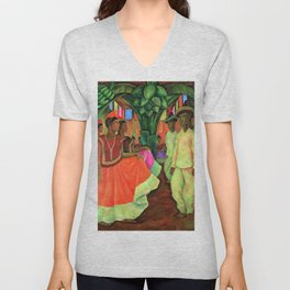 Dance in Tehuantepec by Diego Rivera Unisex V-Neck