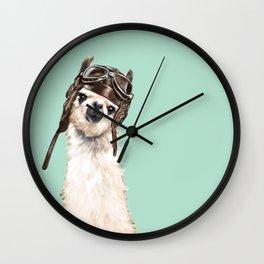 Cool Pilot Llama Wall Clock