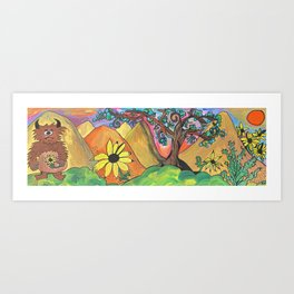 Sasquatch Searches The Burning Hills For His Sunflower Through Juniper and Sage Art Print