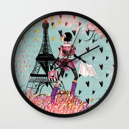 Fashion girl in Paris - Shopping at the EiffelTower Wall Clock