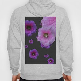 ASYMMETRICAL  PINK-PURPLE  HOLLYHOCKS ON DARK CHARCOAL GREY ART Hoody