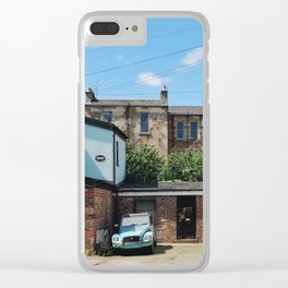 Vintage Blue Car in a Bright Glasgow Tenement Building Courtyard Clear iPhone Case