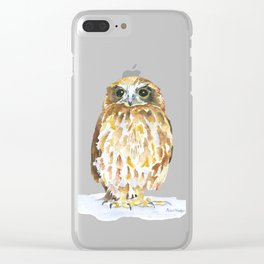 Burrowing Owl Watercolor Clear iPhone Case