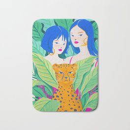 Girls and Panther in Tropical Jungle Bath Mat
