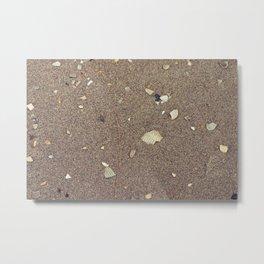 Looking Down at the Gray Sand, Broken Shells Metal Print