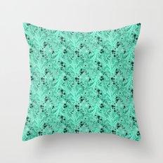 Elegant Flowers & Leaves Pattern Throw Pillow