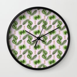 Chic Tropical Leaves and Gold Pineapples Pattern Wall Clock