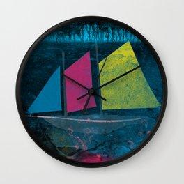little boat in the ocean Wall Clock