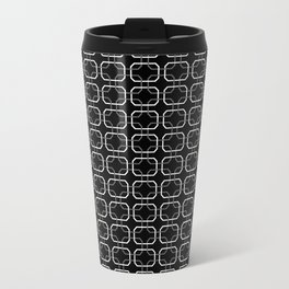Small Black White and Gray Octagonal interlocking shapes Travel Mug