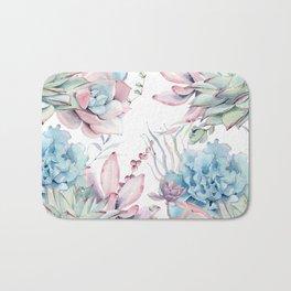 Pretty Pastel Succulents Garden 2 Bath Mat