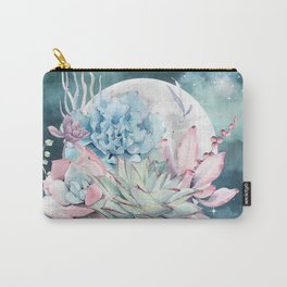 Beautiful Succulents Full Moon Teal Pink Carry-All Pouch