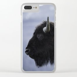Bison and Mountain Landscape Clear iPhone Case