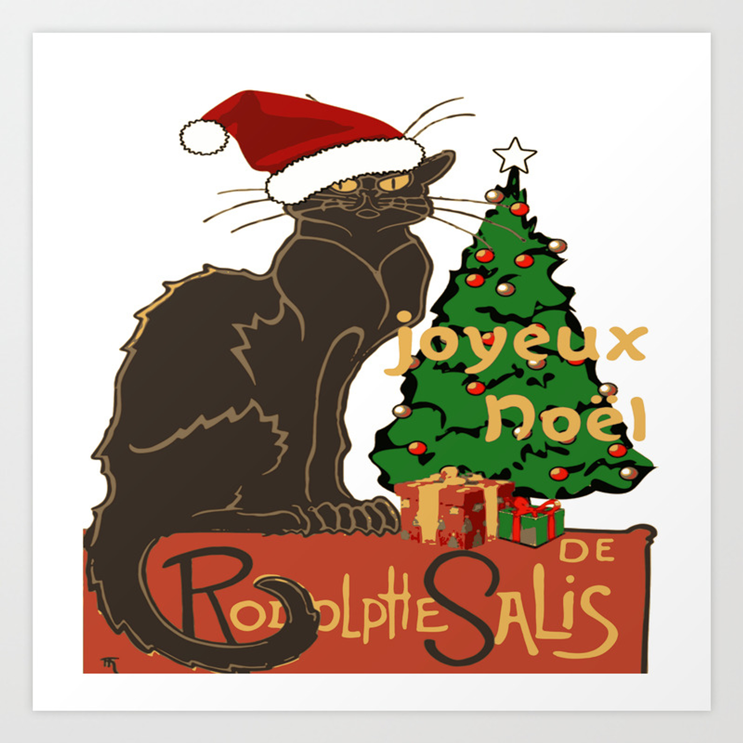 Chat Noel Joyeux Noel Le Chat Noir With Tree And Gifts Art Print by taiche