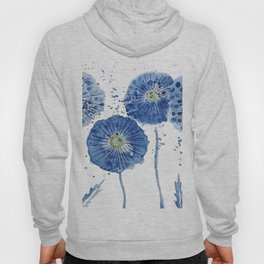 four blue dandelions watercolor Hoody