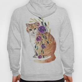 cat with flower boa Hoody