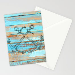 Rustic Naval Ship Anchors Pirate Pattern On Weathered Teal Barnboards Stationery Cards