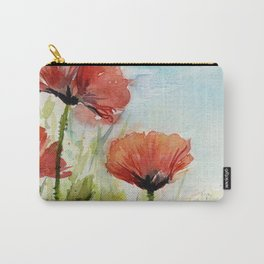 Red Flowers Watercolor Poppies Carry-All Pouch