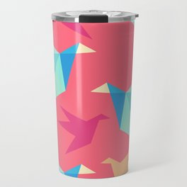 Vivid Pink Paper Cranes Travel Mug