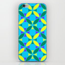 Geometric Floral Circles Vibrant Color Challenge In Bold Purple Yellow Green & Turquoise Blue iPhone Skin