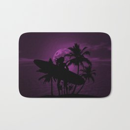 Purple Dusk with Surfergirl in Black Silhouette with Longboard Bath Mat