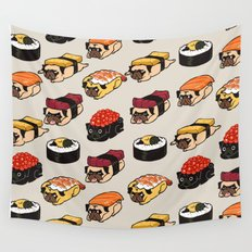 Sushi Pug Wall Tapestry