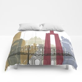 Lisbon skyline poster Comforters