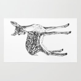 Ink drawing of a fawn Rug