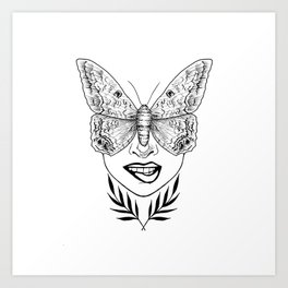 moth girl Art Print